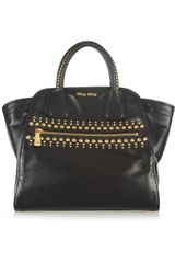 Miu Miu Studded Leather Trapeze Bag - Lyst