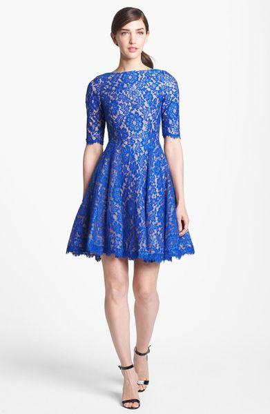 Ml Monique Lhuillier Lace Fit Flare Dress In Blue Lapis