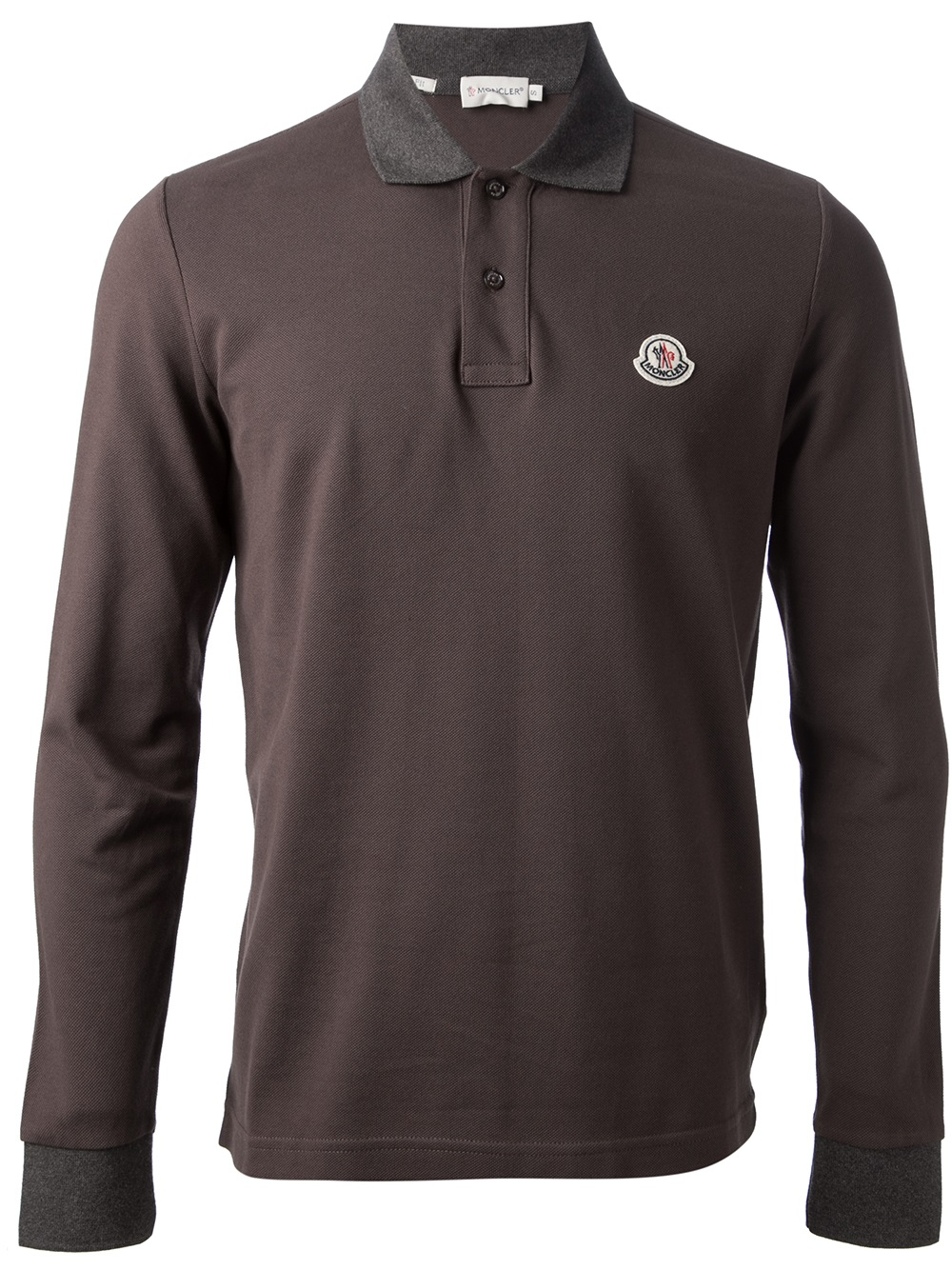 Moncler Long Sleeve Polo Shirt In Brown For Men Lyst