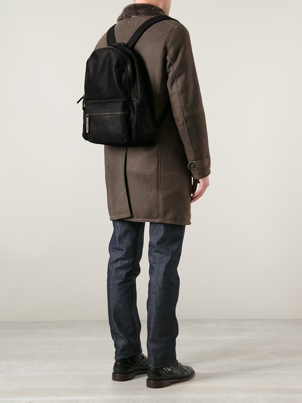 Orciani Leather Backpack in Black for Men | Lyst
