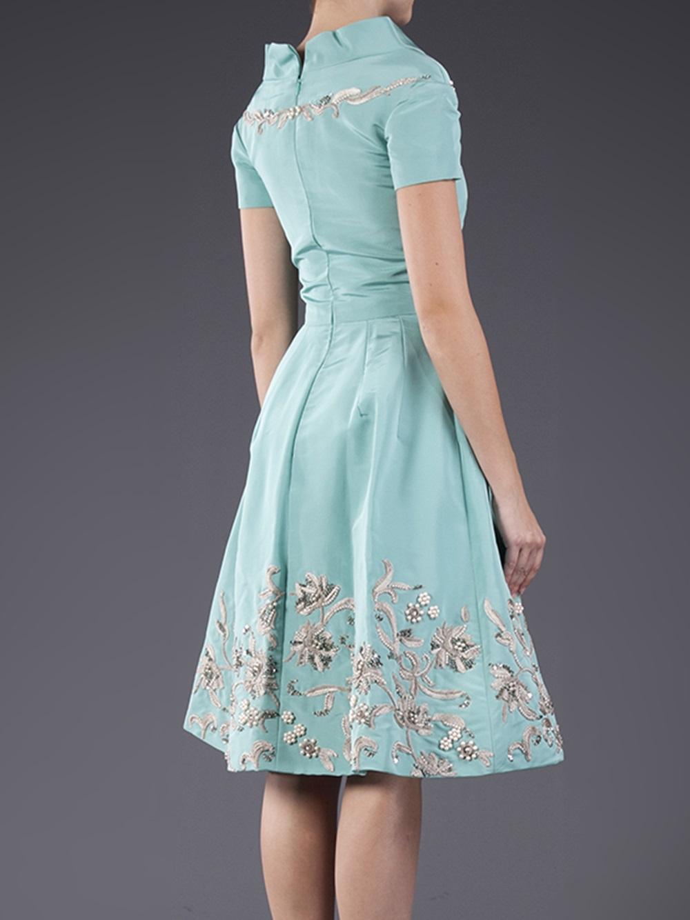 Lyst - Oscar De La Renta Woven Off Shoulder Dress in Blue