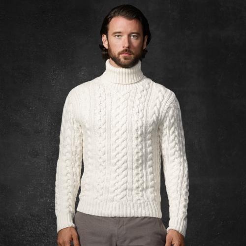 Ralph Lauren Purple Label Cableknit Turtleneck Sweater In
