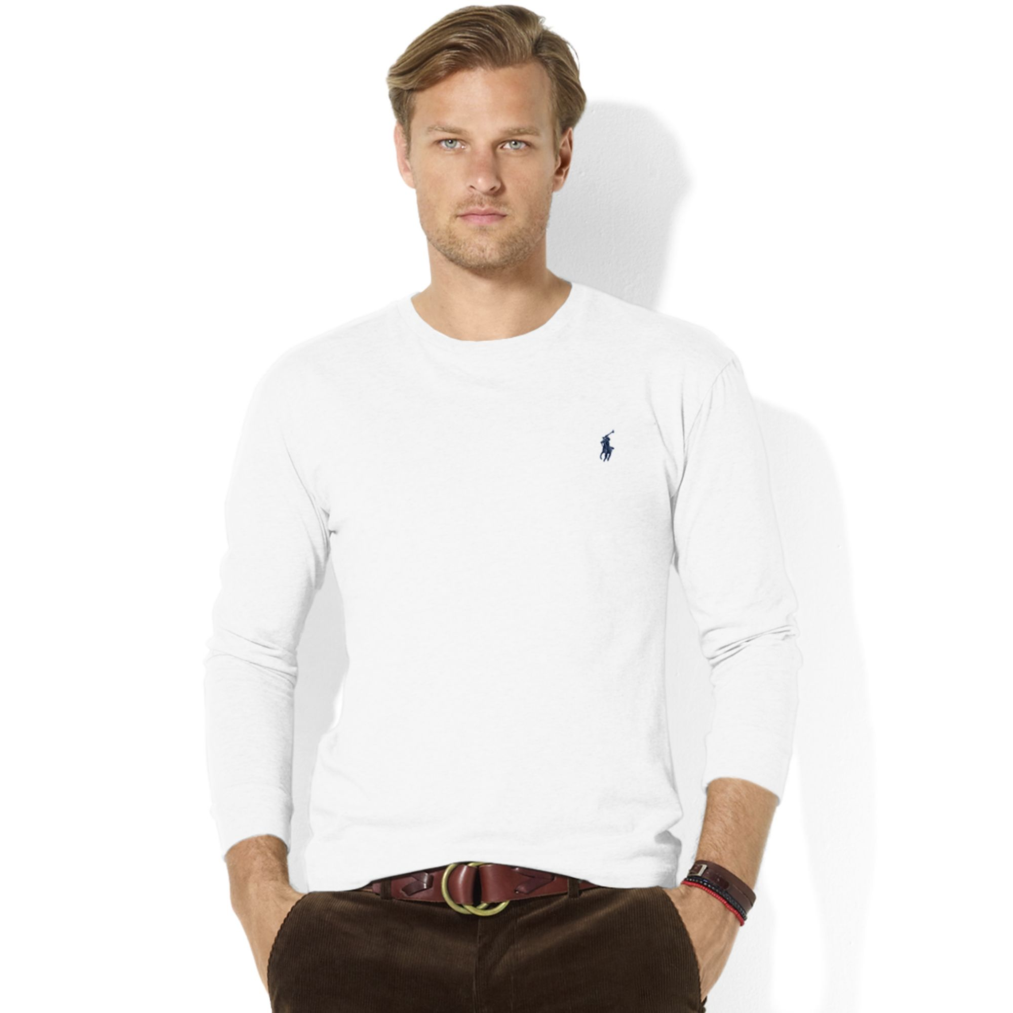 lyst ralph lauren classic fit longsleeve cotton jersey pocket crew neck t shirt in white for men. Black Bedroom Furniture Sets. Home Design Ideas