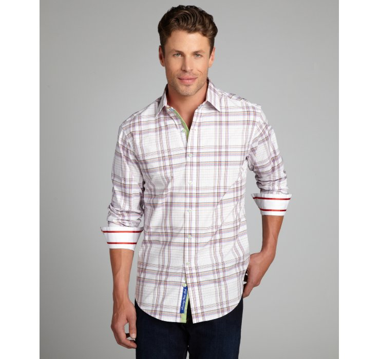 Robert Graham White Lime And Red Plaid Lay Back Long