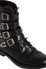 Saint Laurent Buckle Strap Rangers Boot - Lyst