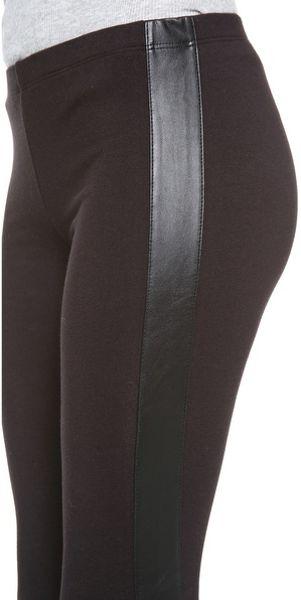 Splendid Leggings With Faux Leather Stripe In Black Lyst