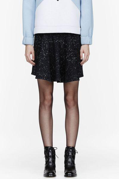 stella mccartney splatter print denim skirt in