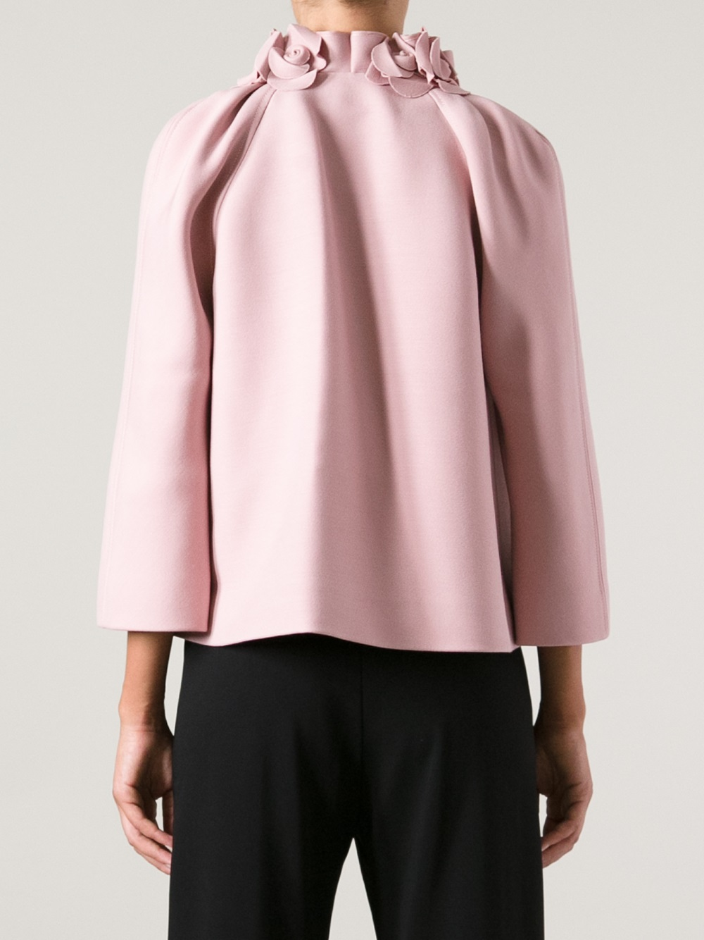 Lyst Valentino Silk And Wool Blend Short Jacket In Pink