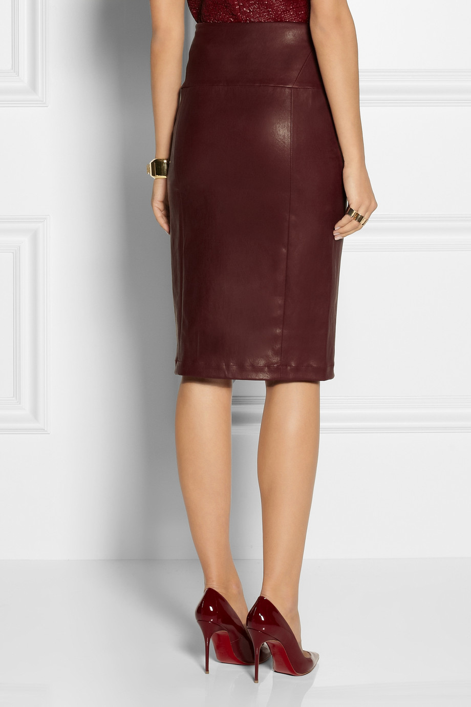 Zero   maria cornejo Nobi Stretch Leather Pencil Skirt in Red | Lyst