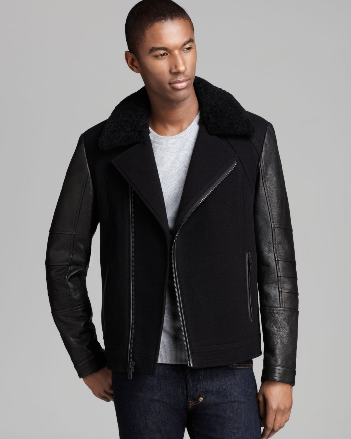 Andrew Marc Gaze Shearling Jacket In Black For Men Lyst