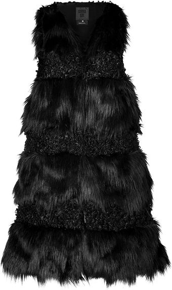 Anna Sui Faux Fur Combo Vest in Black - Lyst