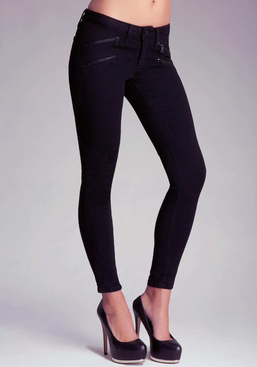 Bebe Black Multi Zipper Skinny Jeans in Black   Lyst
