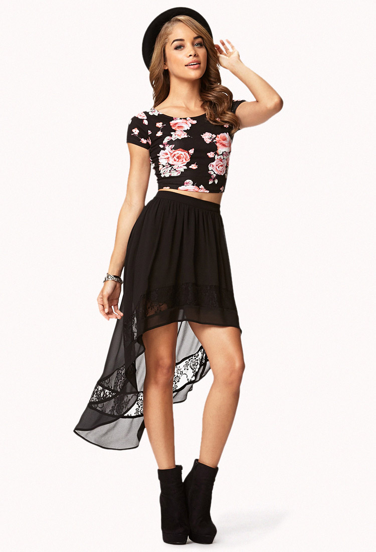 4f0beea40 Forever 21 Chiffon Lace High-Low Skirt in Black - Lyst