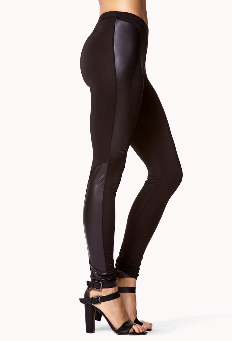 Unique FOREVER 21 Paneled Faux Leather Pants  Polyvore