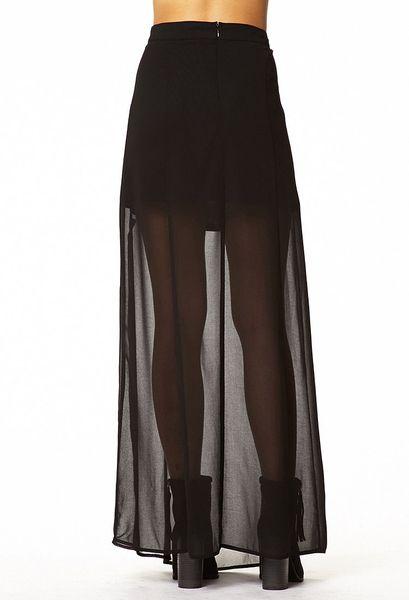 Forever 21 Mslit Maxi Skirt in Black - Lyst