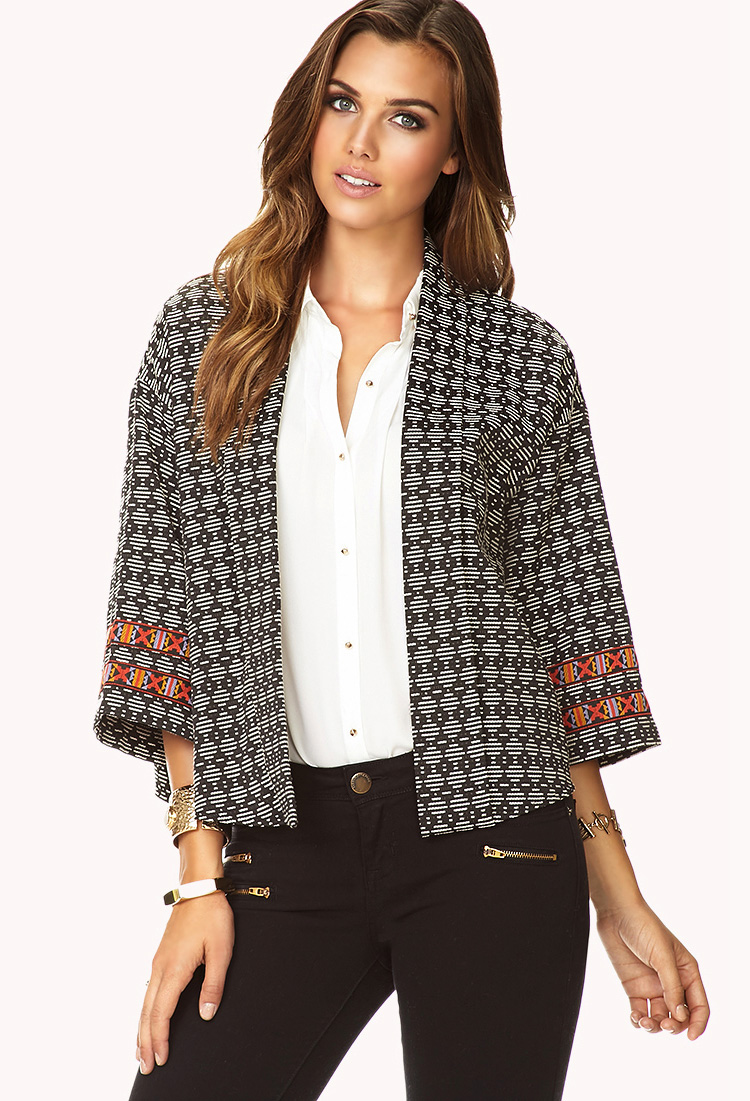 Forever 21 Bold Stripe Kimono Jacket in Black (BLACK/CREAM ...