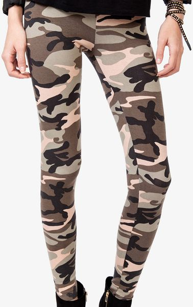 Excellent Forever 21 Stretchy Camo Pants In Green (Dark Olive/taupe ...