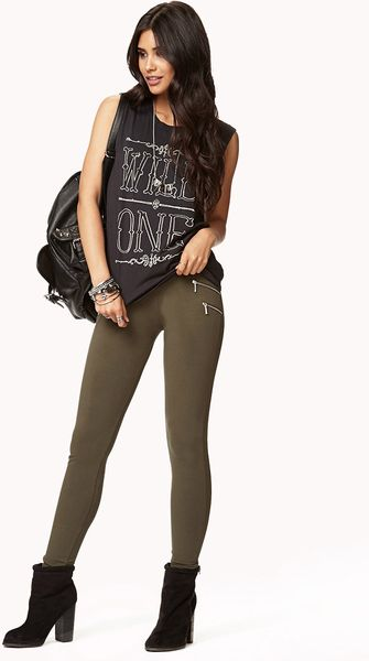 Forever 21 Zipper trimmed Skinny Pants in Green (Olive)