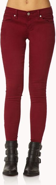 Forever 21 Colored Zippered Skinny Jeans - Lyst