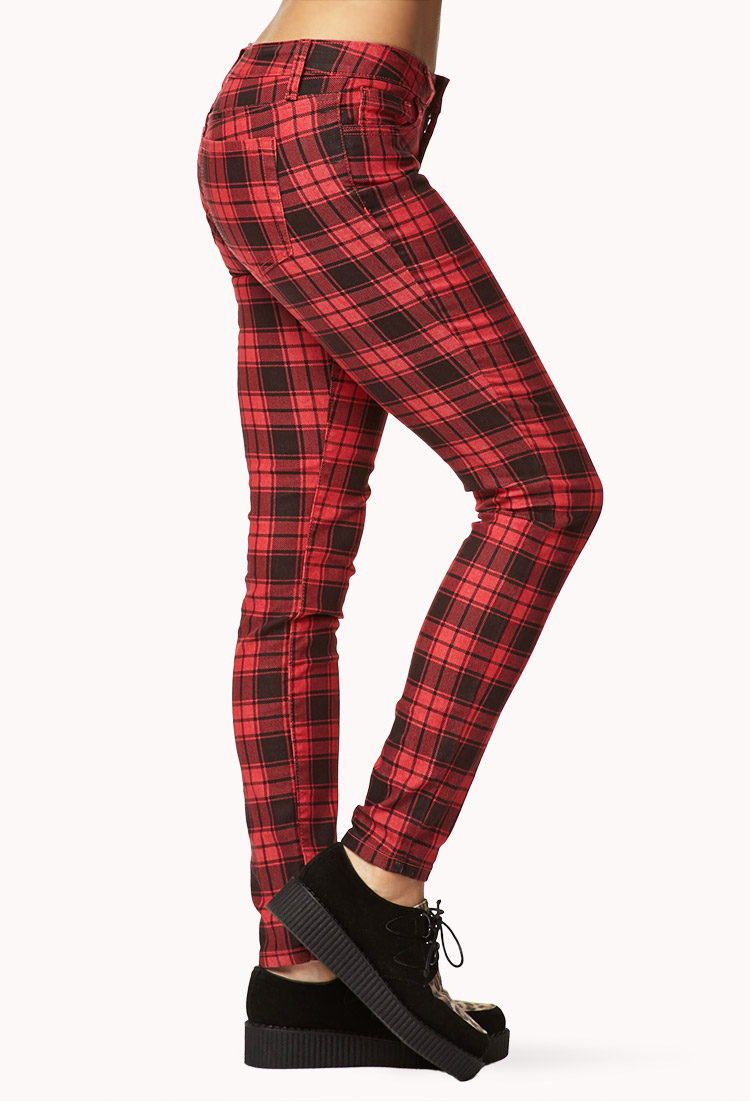 3ce771a22715c3 Forever 21 Grunge Plaid Skinny Pants in Red - Lyst