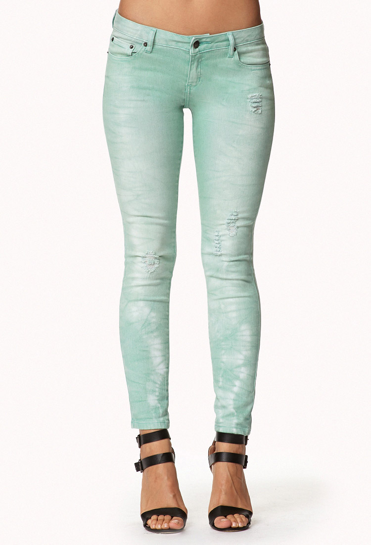Forever 21 Distressed Colored Skinny Jeans in Green | Lyst