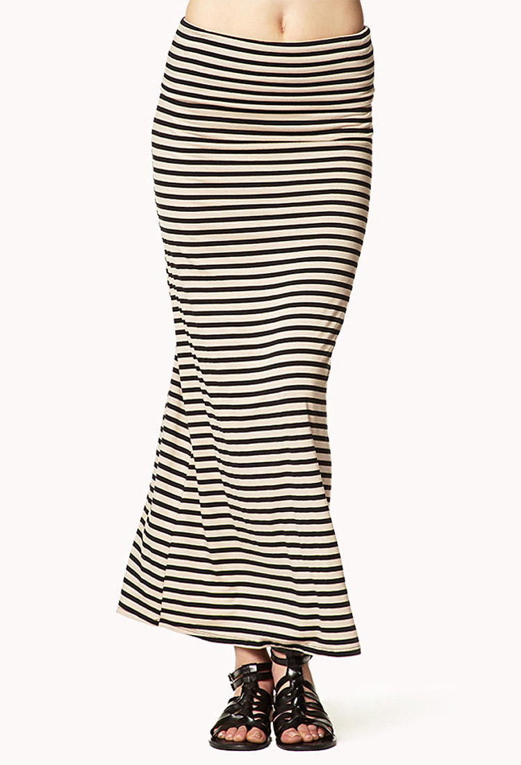 543e3781a Forever 21 Striped Jersey Maxi Skirt in Black - Lyst