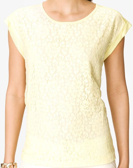 Forever 21 Yellow Boxy Lace Top