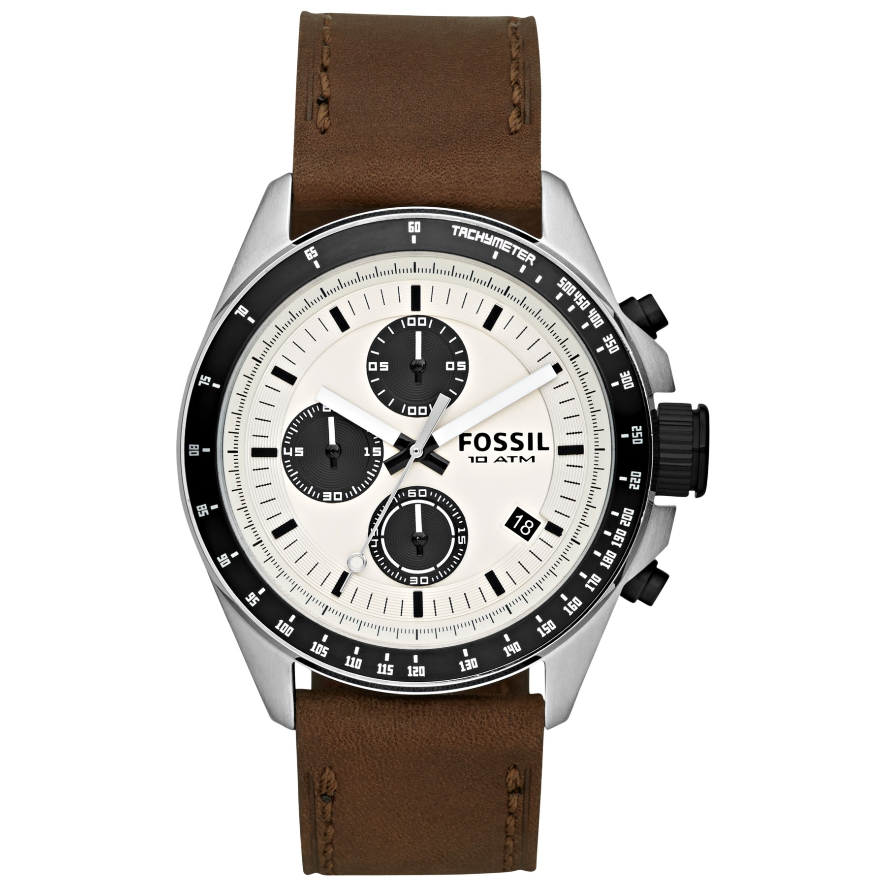 Fossil Ch2882 Decker Stainless Steel And Leather Chronograph Watch Ch2600 Gallery