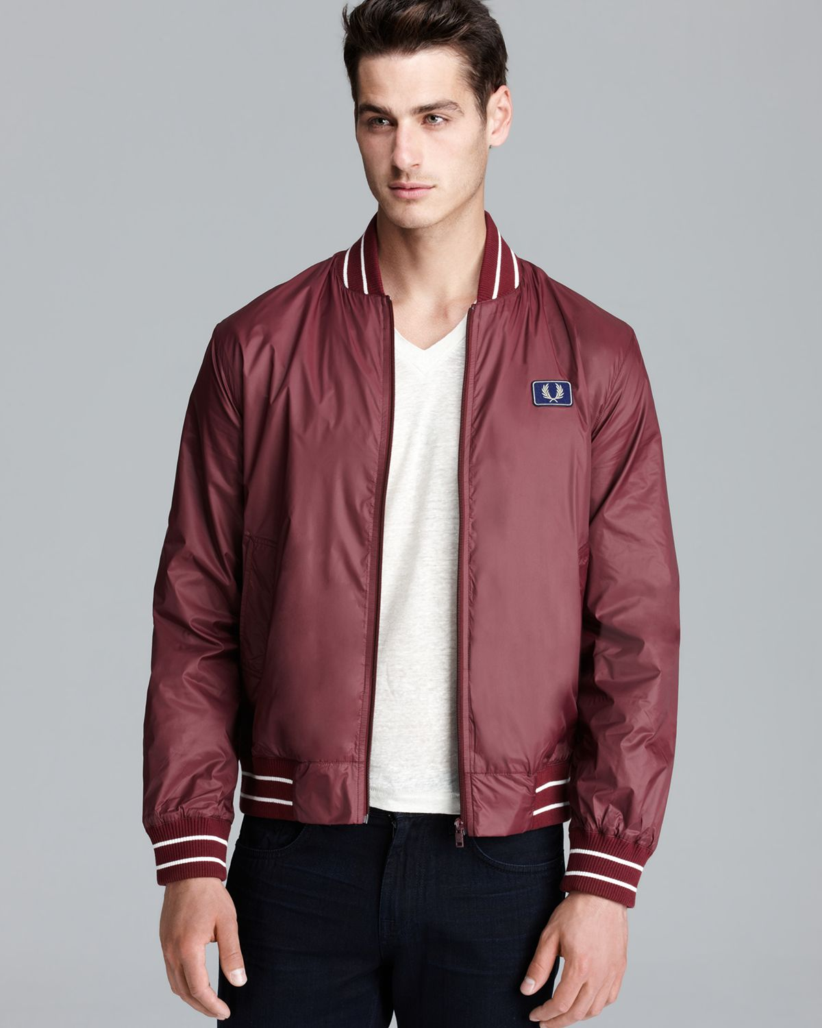 fred perry tipped bomber jacket in red for men port lyst. Black Bedroom Furniture Sets. Home Design Ideas