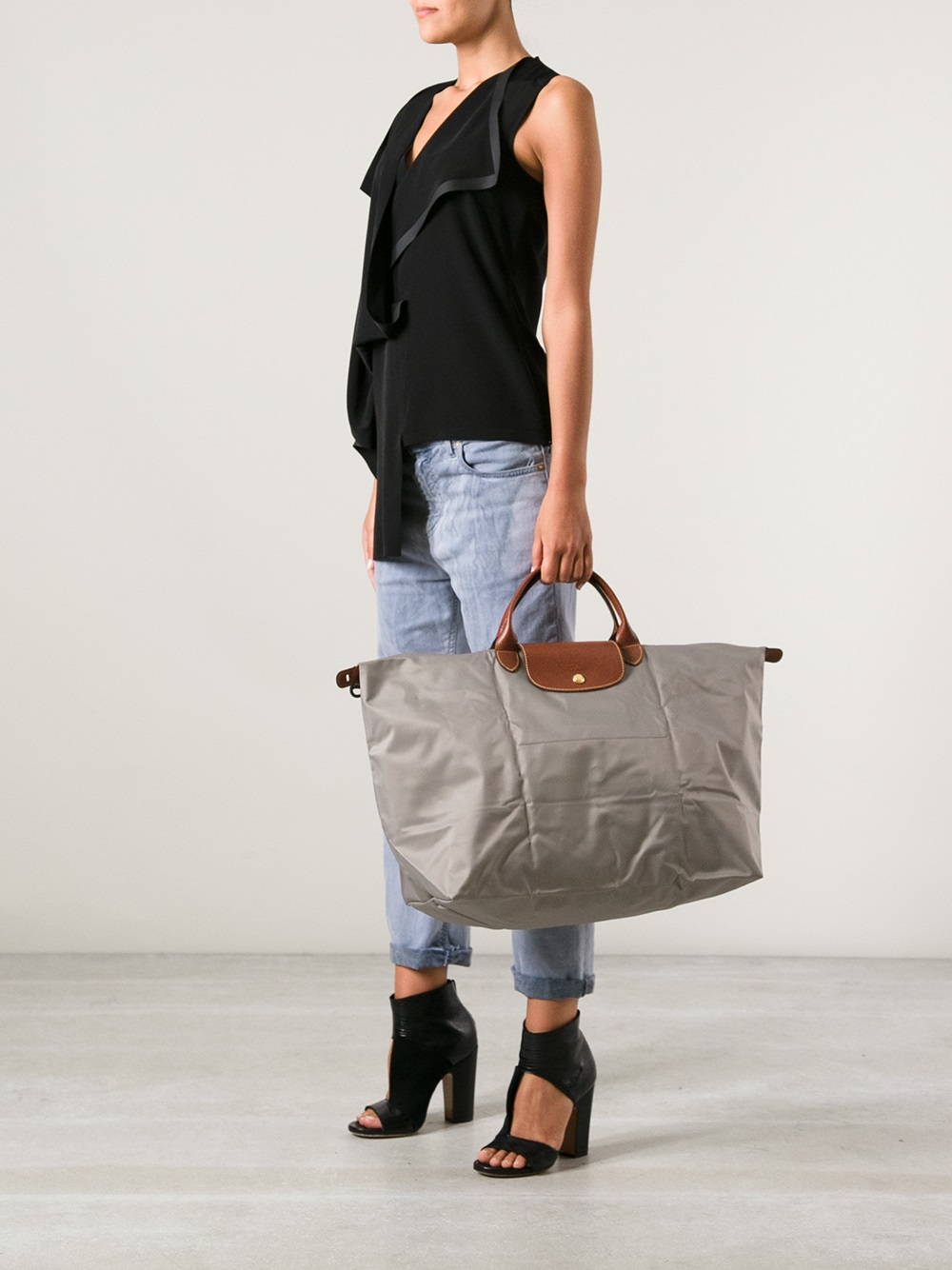 Lyst Longchamp Le Pliage Travel Bag In Gray