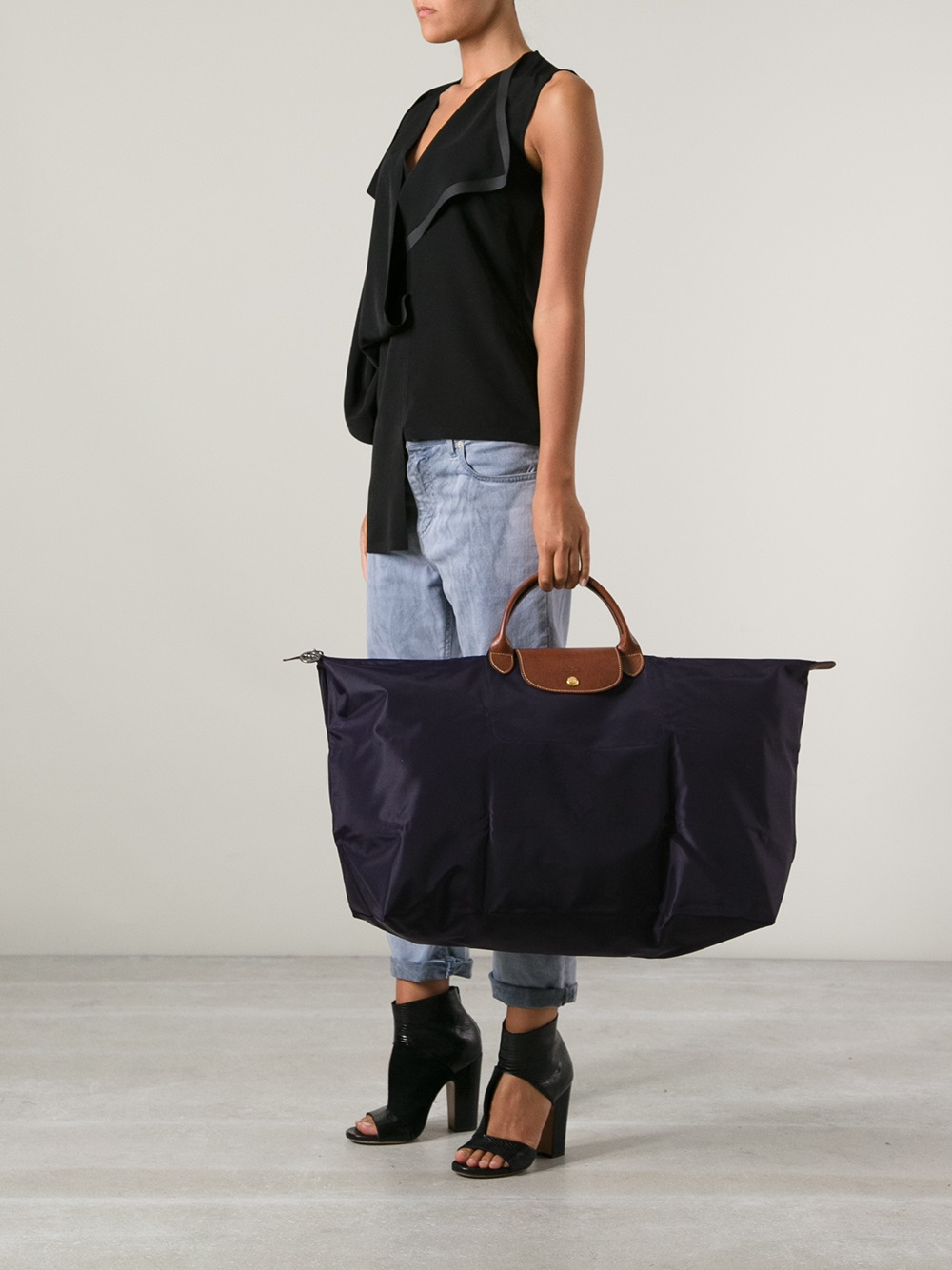 Le Pliage Large Travel Bag In Black