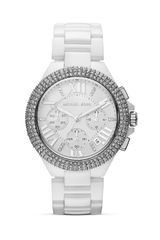 Michael Kors Midsize White Ceramic and Silver Tone Camille Chronograph Glitz Watch 43mm - Lyst