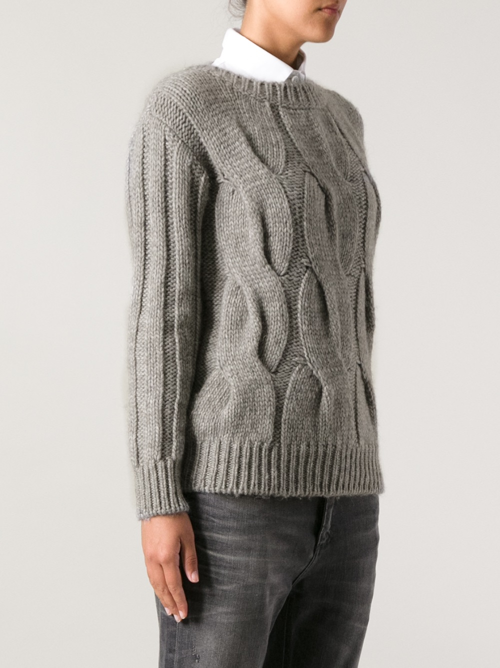 Moncler grenoble Chunky Cable Knit Sweater in Gray | Lyst