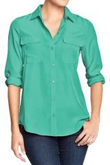 Old Navy Chiffon Button-up Blouses - Lyst