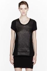 Rag & Bone Black Leather paneled Tess Tee - Lyst