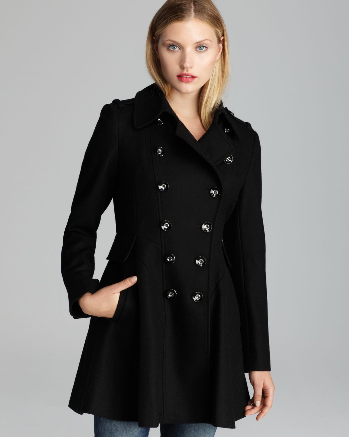 Via spiga Coat - Double-breasted Wool in Black | Lyst
