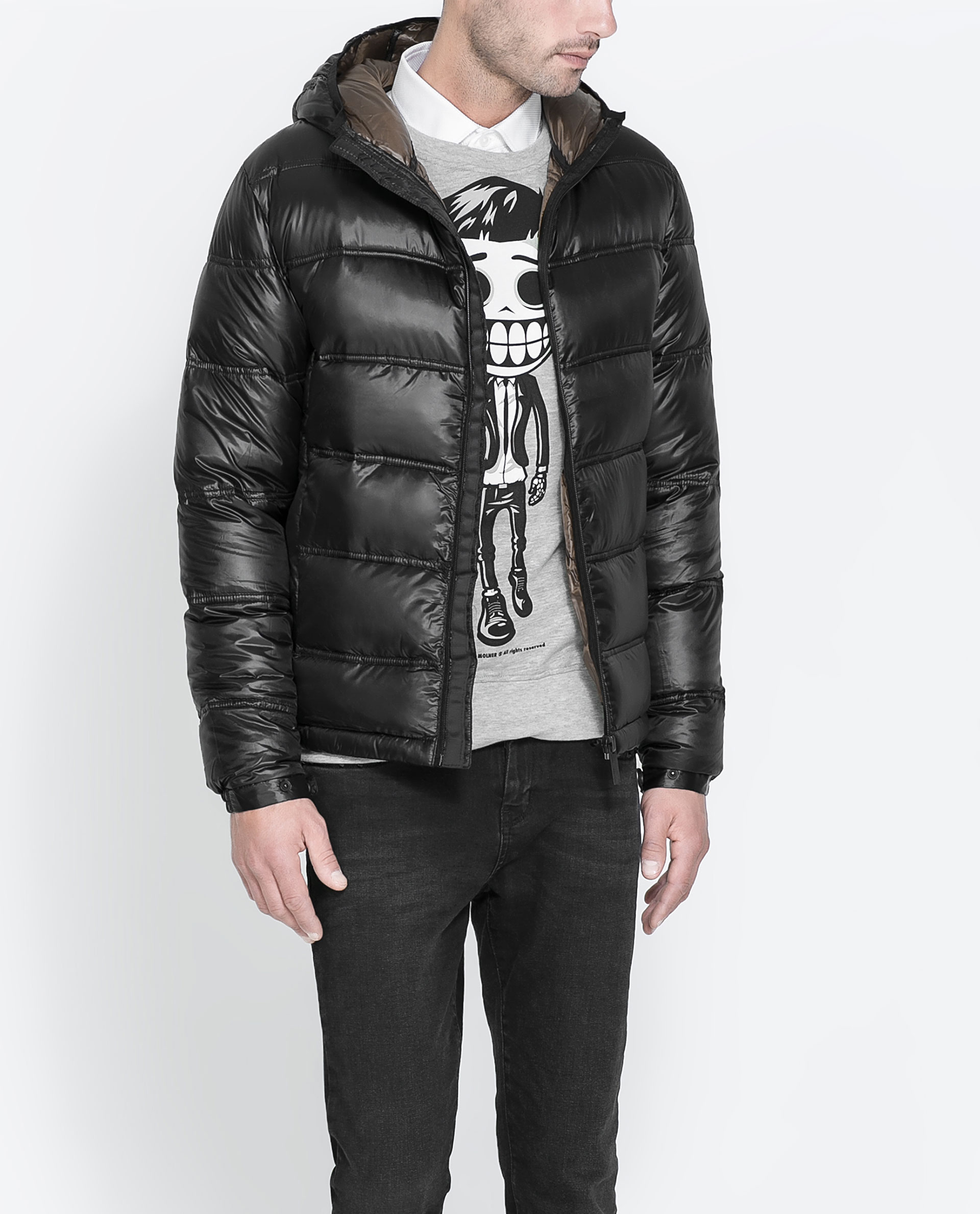 Zara Quilted Jacket in Black for Men | Lyst