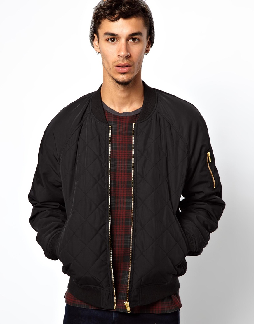 Lyst - Fred perry Asos Bomber Jacket in Black for Men