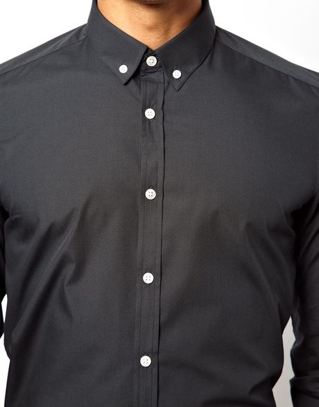 Asos Asos Smart Shirt With Button Down Collar In Black For