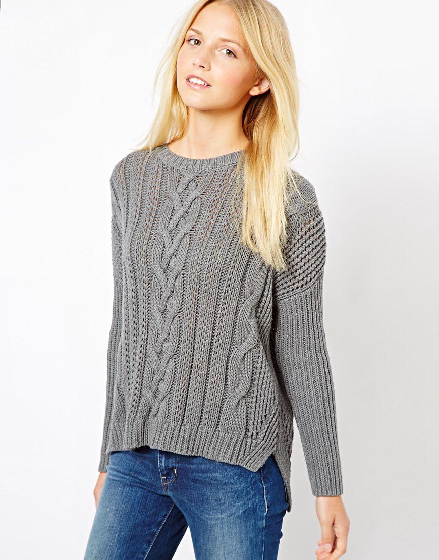 Asos Asos Aran Sweater in Gray | Lyst