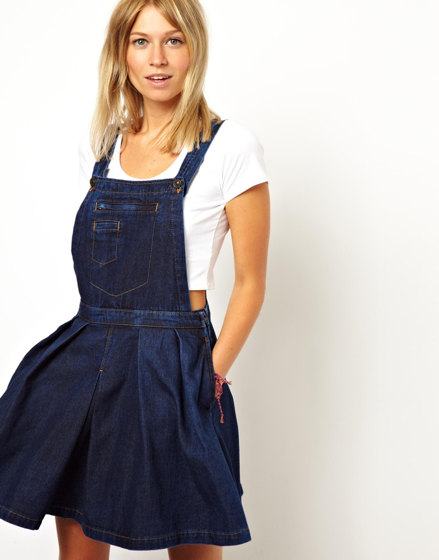 cfd4d87f7ae ASOS Asos Denim Pinafore Dress with Pleated Skirt in Dark Wash in ...