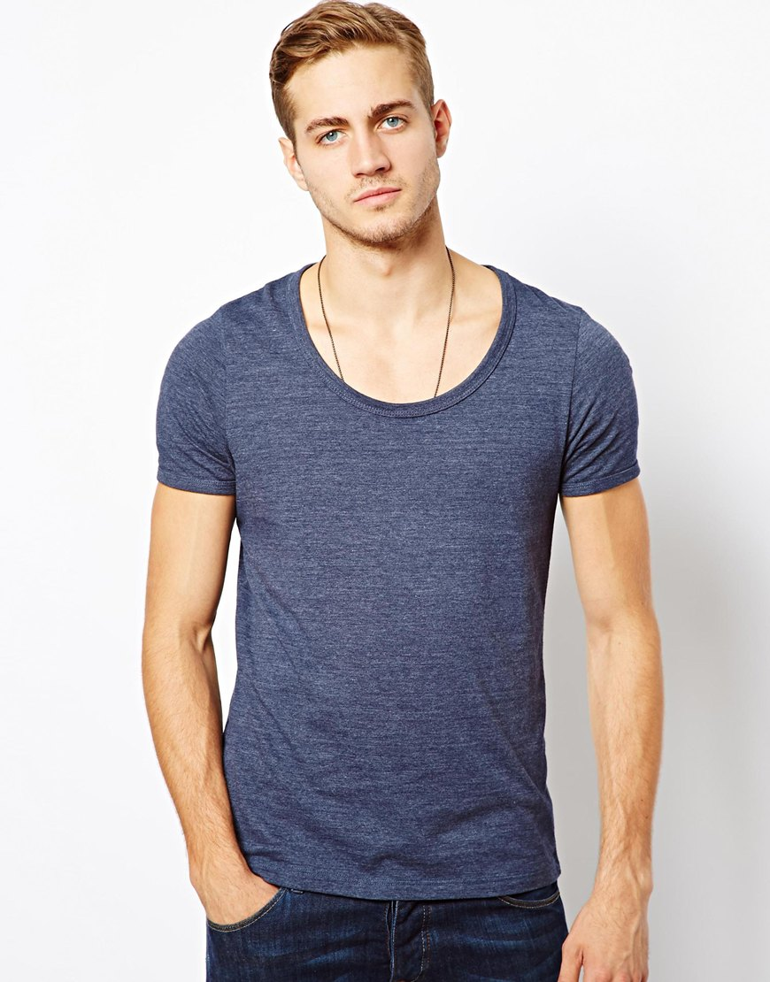 84c0fcfce9bf ASOS T-Shirt With Bound Scoop Neck in Blue for Men - Lyst