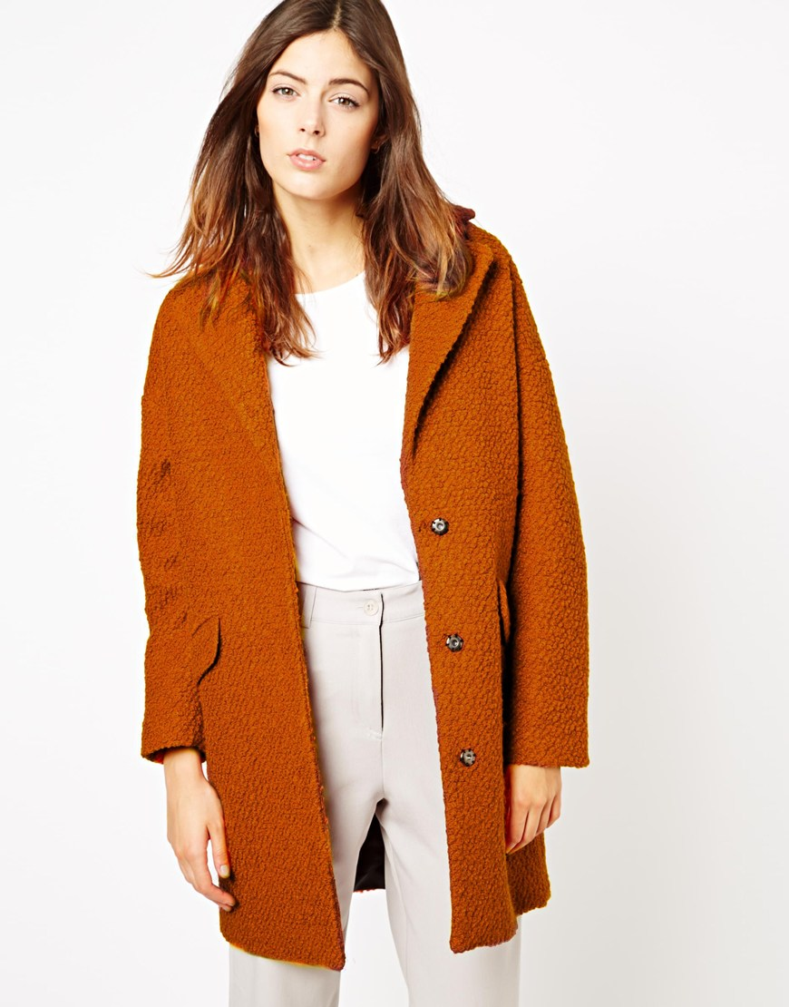 Asos Textured Longline Coat In Brown Lyst