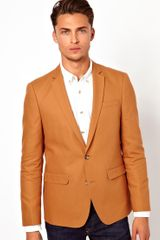 Asos Asos Slim Fit Blazer in Cotton with Mock Horn Buttons - Lyst