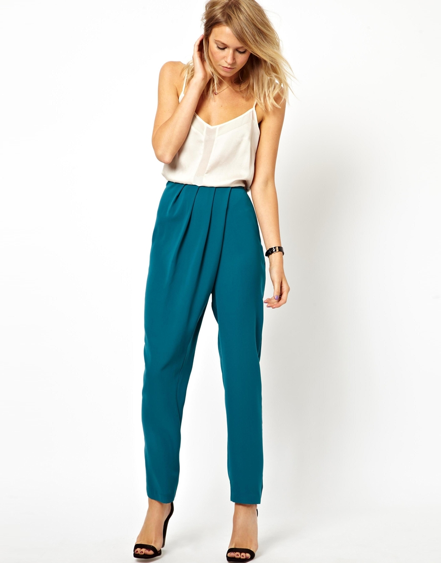 Asos Pants with High Waist and Soft Pleats in Blue | Lyst
