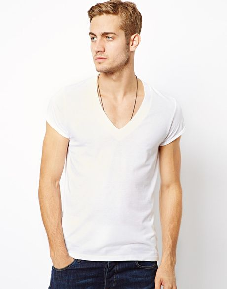 Asos Asos Tshirt With Deep V Neck And Roll Sleeve In White