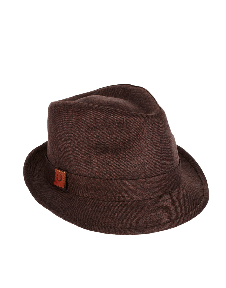 dccd8209ebbda Fred Perry Trilby Hat in Brown for Men - Lyst