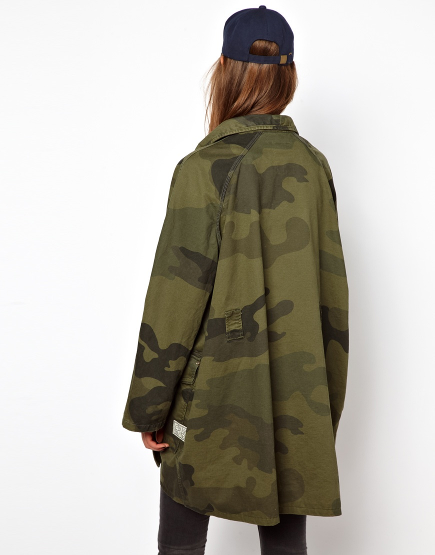 G Star Raw Gstar Camoflage Print Military Jacket In Green
