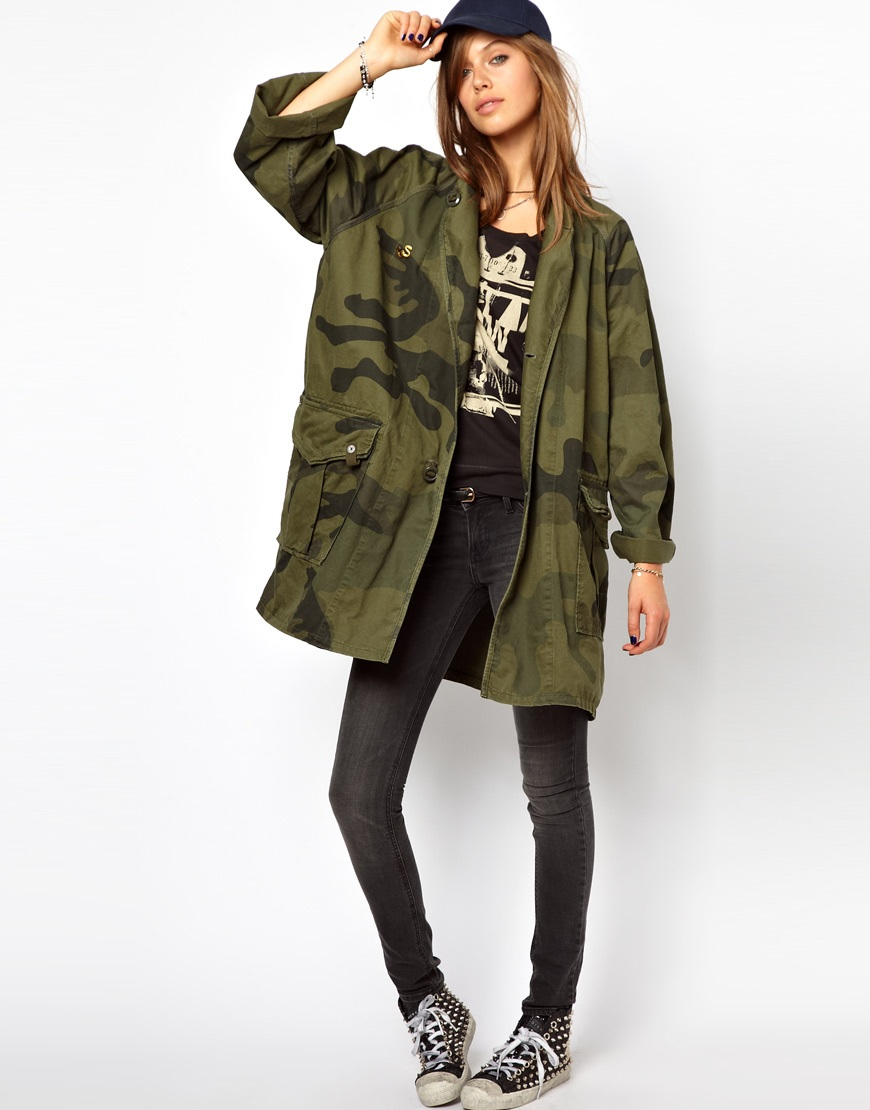 g star raw gstar camoflage print military jacket in green lyst. Black Bedroom Furniture Sets. Home Design Ideas