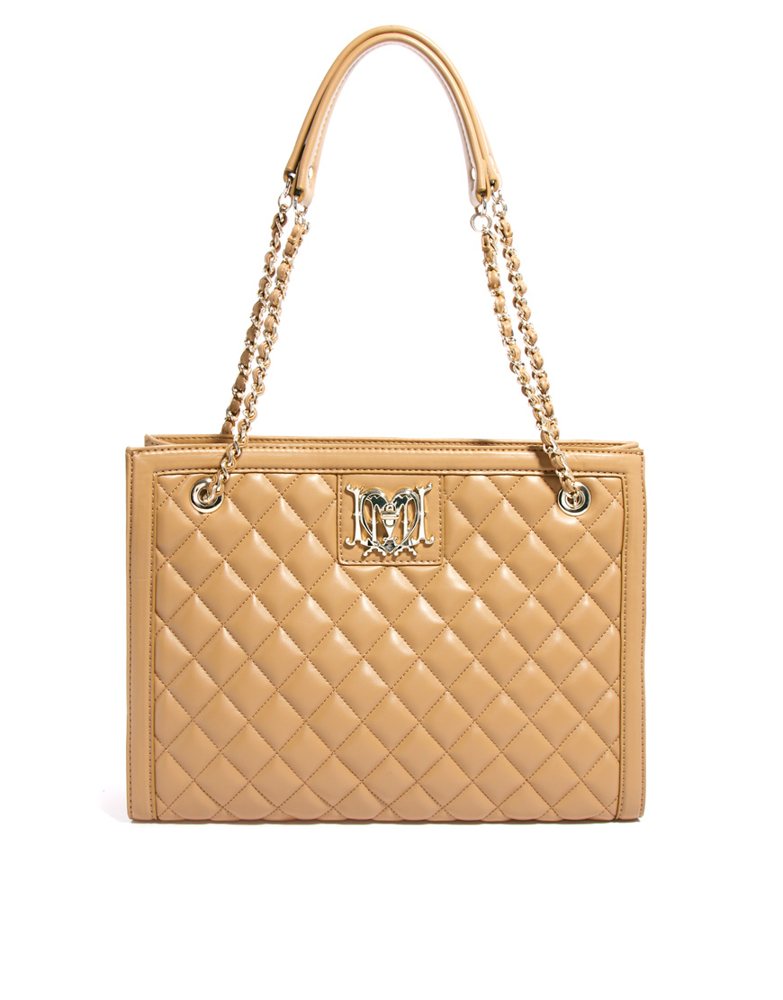 love moschino structured quilted shoulder bag in beige camel lyst. Black Bedroom Furniture Sets. Home Design Ideas
